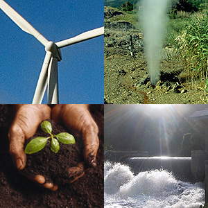 Wind, geothermal and hydro power