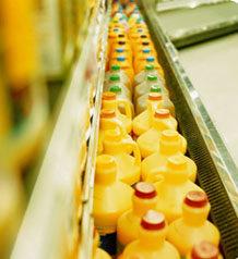 Juice in a large refridgerator