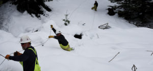 linemen working on downed power lines in the snow