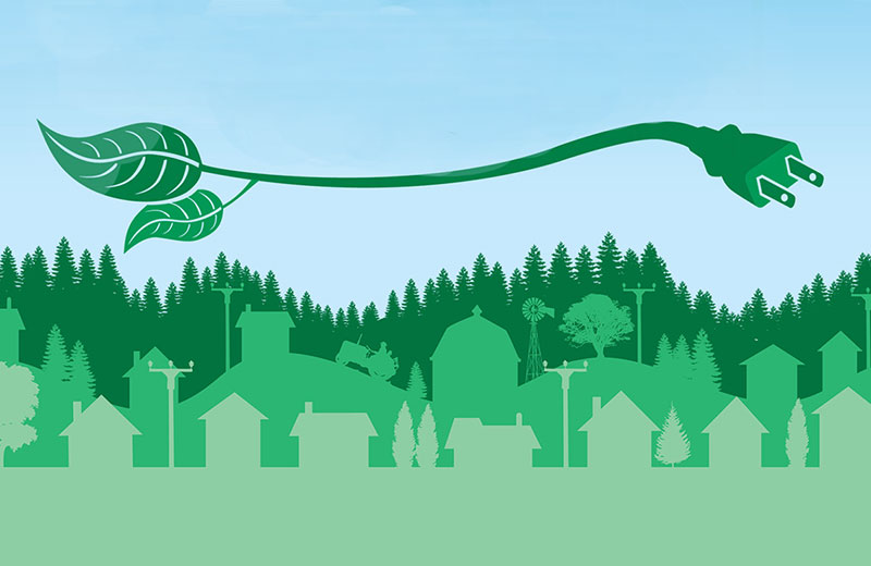 plug turning into leaf over houses and forest