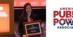 CFO Sara Cline accepts the 2018 APPA E.F. Scattergood Award