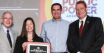 CFO Sara Cline and Power Manager Kyle Roadman accept APPA's 2018 E. F. Scattergood award