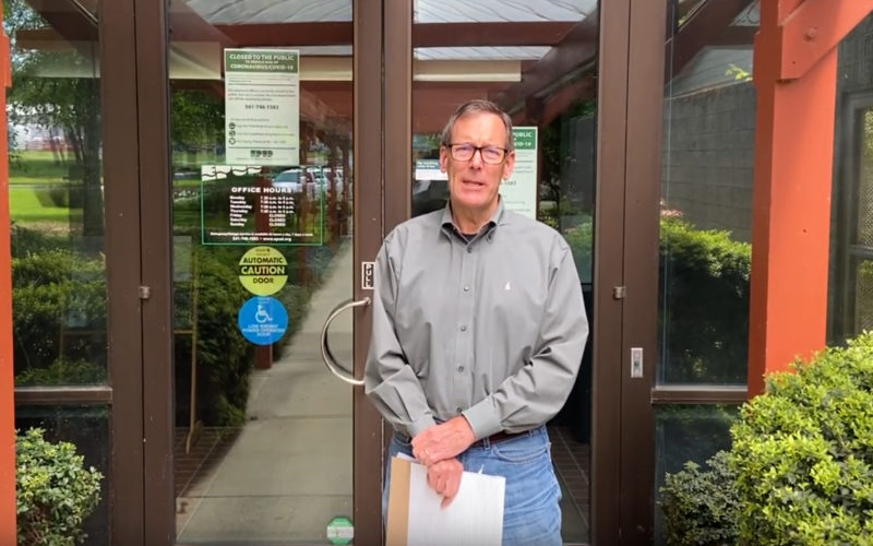 General Manager Scott Coe outside the office building
