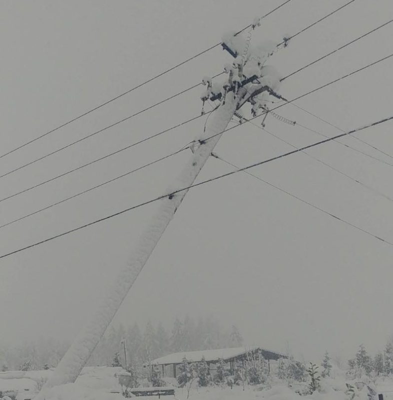 Leaning Power Pole in snowstorm